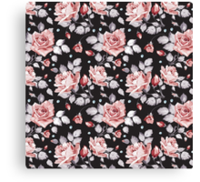 Stylish Vintage Pink Floral Pattern Canvas Print
