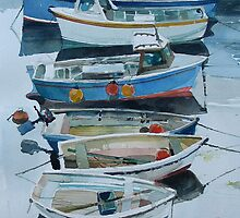 boats in a Cornish village by Ray Pethick