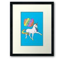 Haters gonna hate unicorn (blue background) Framed Print