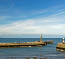 Whitby Piers from Tate Hill Sticker