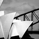 Sydney Opera House with Bridge climbers by Sheila  Smart