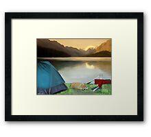 Corky's camping Framed Print