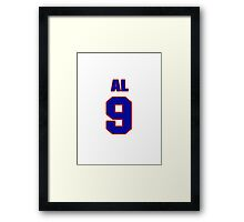 National Hockey player Al McDonough jersey 9 Framed Print