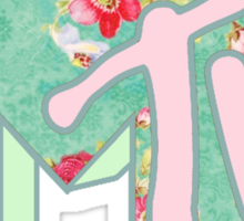 MTV logo - Green and pink floral Sticker