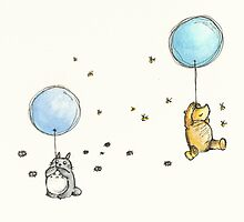 Pooh and Totoro Greeting Card by conniekidd