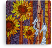 Sunflower Fairies at Sunset Canvas Print