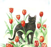 Black cat in tulips by Annartist2015