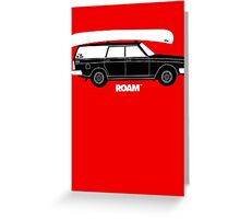 ROAM Volvo Granola Wagon with Canoe Greeting Card