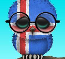 Nerdy Icelandic Baby Owl on a Branch by Jeff Bartels