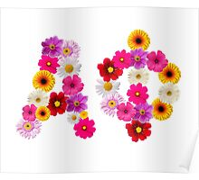 Alpha Phi Flower Letters Poster