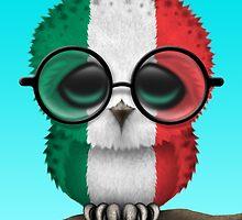 Nerdy Italian Baby Owl on a Branch by Jeff Bartels
