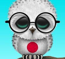 Nerdy Japanese Baby Owl on a Branch by Jeff Bartels