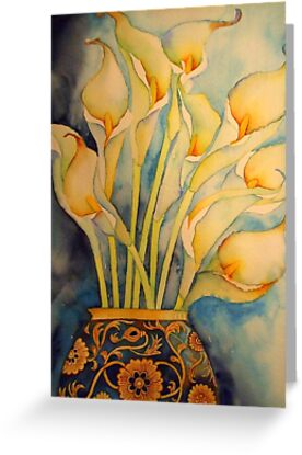Arum Lilies in Vintage Vase 'Still Life' © Patricia Vannucci 2008 by PERUGINA
