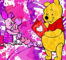 Pooh & Piglet Valentine by Lindsey Reese