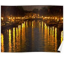Amsterdam Canal - Oil Painting Effect Poster