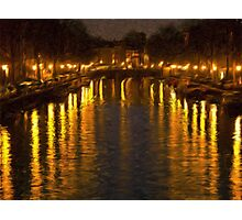 Amsterdam Canal - Oil Painting Effect Photographic Print