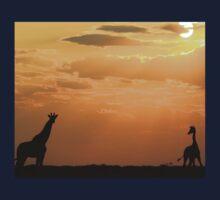 Giraffe Sunset - African Wildlife - Silhouette Pair Kids Clothes