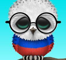 Nerdy Russian Baby Owl on a Branch by Jeff Bartels