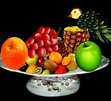 DELICIOUS PLATE OF FRUIT WITH PINEAPPLE BIRD-- PICTURE AND OR CARD by ✿✿ Bonita ✿✿ ђєℓℓσ