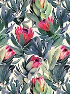 Painted Protea Pattern by micklyn