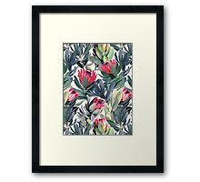 Painted Protea Pattern Framed Print