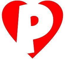 I love P - Heart P - Heart with letter P by theshirtshops