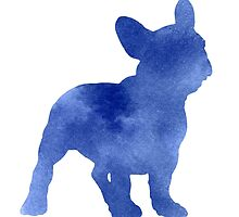 Blue french bulldog silhouette art print watercolor painting by Joanna Szmerdt