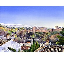The Alhambra, Granada and the Sierra Nevada Photographic Print