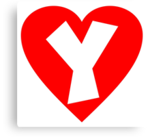 I love Y- Heart Y - Heart with letter Y Canvas Print