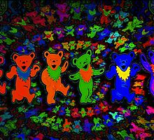 Dancing Bears Grateful Dead Psychedelic Design by capartwork