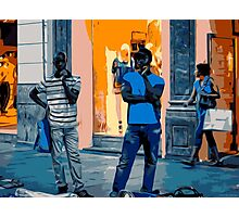 Street Vendors at Night - Madrid Photographic Print