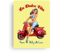 Vespa Scooter Girl - La Dolce Vita  Canvas Print