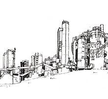 Gas Works Park Pen Sketching by Tiantian Ding