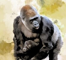 Gorilla protecting baby by buttonpresser