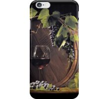 Still life: Barrel, grapes and wine iPhone Case/Skin