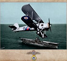 Fairey Swordfish Mk I over HMS Ark Royal by A. Hermann