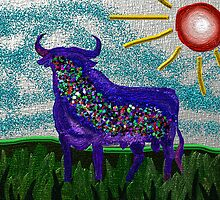 Blue bull under the hot sun / Toro azul bajo el sol caliente by merce