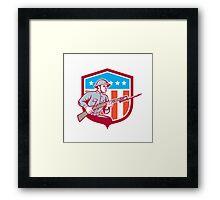 World War One Soldier American Retro Shield Framed Print