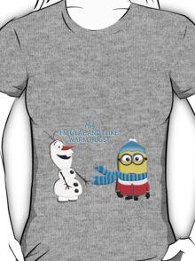 I like warm hugs! Minion and Olaf T-Shirt