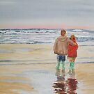 Children on the beach by Susan Brown