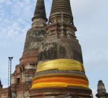 Buddhist Stupa with an Orange Ribbon Sticker