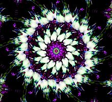 Purple and White Kaleidoscope Mandala by TigerLynx