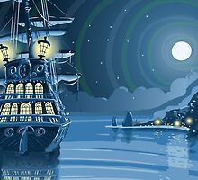 Nocturnal Adventure Island with Pirate Galleon Anchored by aurielaki