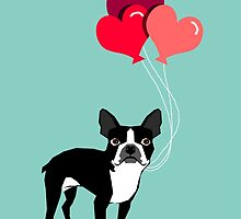 Boston Terrier Valentines Love Balloons gifts for dog lovers pet owners dog breeds customizable by PetFriendly
