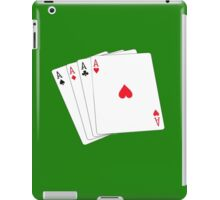 Aces High, Four Aces, Poker, Playing Cards, Winning Hand, on green iPad Case/Skin