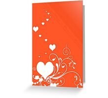 White Valentine Hearts On Red Background Greeting Card