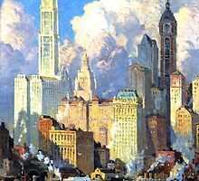 Hudson River Waterfront - Colin Campbell Cooper by BravuraMedia