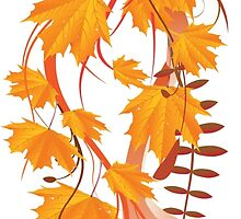 Autumn floral ornament with orange maple leaves 3 by AnnArtshock