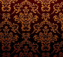 Victorian Damask, Ornaments, Swirls - Red Yellow by sitnica