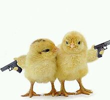 Chickens with pistols by Vitalia